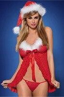 Nowy Rok Ubrania 2016 Boże Narodzenie Kostium Sexy Kobiety Red 3 sztuk Krótki Babydoll Otwarta Przednia Mrs. Claus Kostium LC7272 Deguisement Dorosłych