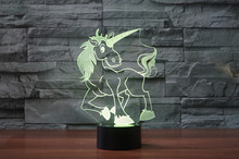 3D Cartoon Unicorn LED Horse Night Light Touch 7 Colors Desk Lamp Changing USB Table lamps For Kid Gifts Toys Decoration acrylic 7 colors changing animal horse led nightlights 3d light led desk table lamp usb 5v lamps for home decoration