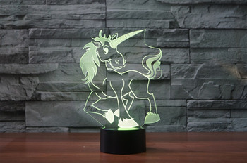 3D Cartoon Unicorn LED Horse Night Light Touch 7 Colors Desk Lamp Changing USB Table lamps For Kid Gifts Toys Decoration novelty products cartoon cute horse usb 3d desk lamp directly usb novelty touch charming horse lamp 3d dimmable night light