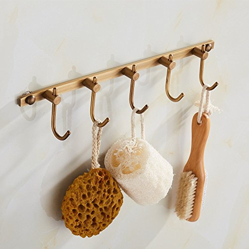 Antique Robe Hook Line European Retro Clothes Hanger Hooks Wall Mounted Brass Towel Hooks Behind The Bathroom Door Hooks