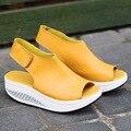 Enchufe de fábrica de cuero genuino mujer zapatos de plataforma sandalias de las cuñas de verano peep toe sandalias de las mujeres de calidad superior sólido verano