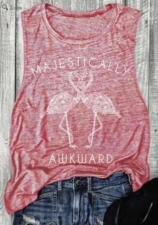02d287e3c ... Plus Size Summer Tank Tops Women Majestically Awkward Flamingo Tanks  O-Neck fitness Vest Female ...