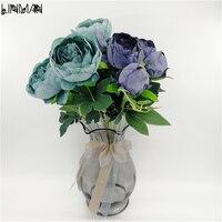 LIN MAN Свадебный букет фиолетовый и Лаванда пион невесты цветы жемчуг свадебные букеты