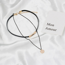 2019 Europe United States Round Sequins Black Choker Necklace Multi-Layer Wax Rope Chain Pendant Necklaces For Female Party Club