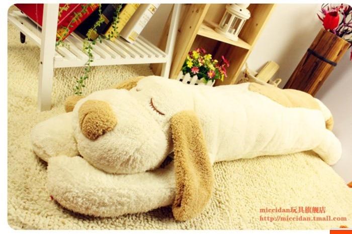 stuffed animal lovely prone dog  white beige dog plush toy about 120 cm dog  throw pillow soft sleeping pillow doll t7892 lovely plush toy stuffed dog pillow