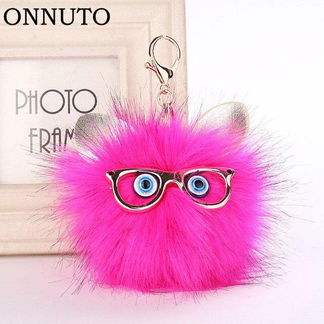 Adorável Coruja Faux Fur Bola Chaveiro para As Mulheres Fluffy Animal Coelho Pompom Pingente Titular da Chave Chave Anéis Saco Ornamentos Presente 6C1223