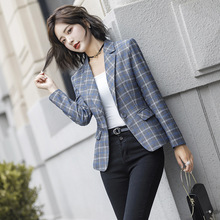 2019 Early autumn new women's small jacket female college female fashion wool suit blue plaid British wind small suit цена и фото