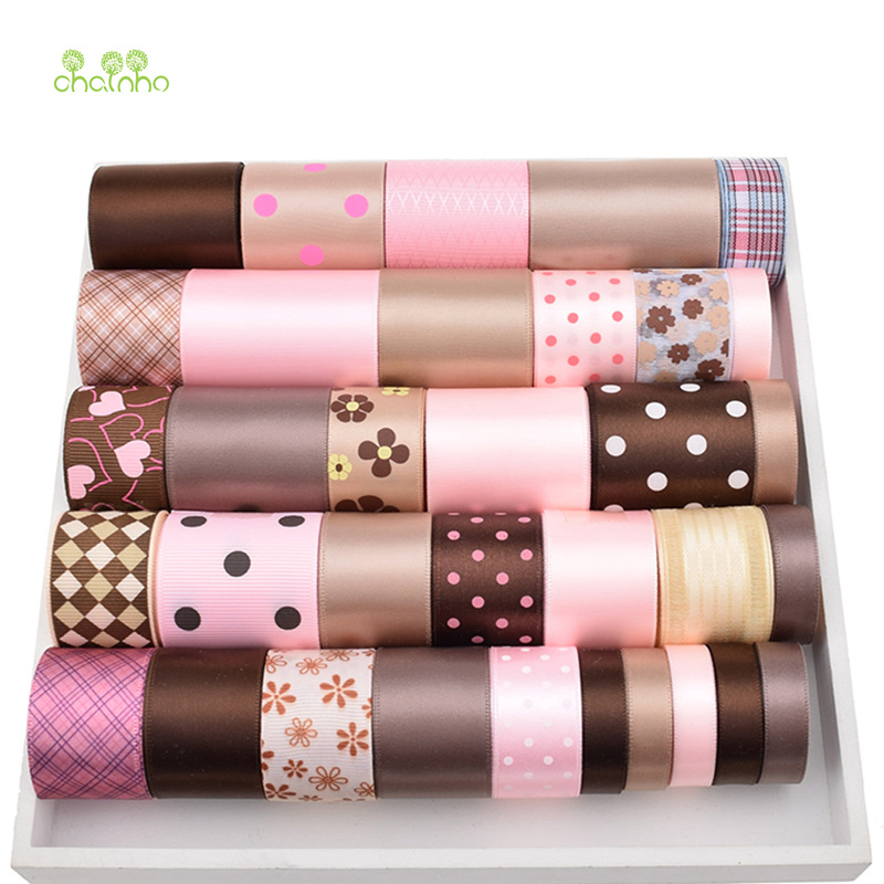 High quality 34 Yard Mix Brown & Pink Ribbon Set For Diy Handmade Gift Craft Packing Hair Accessories Wedding Materials Package