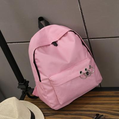 2017 Ulzzang Nylon Waterproof Backpack Women Iron Ring School Bags for Teenage Girl Harajuku Simple Backpacks Mochila Escolar