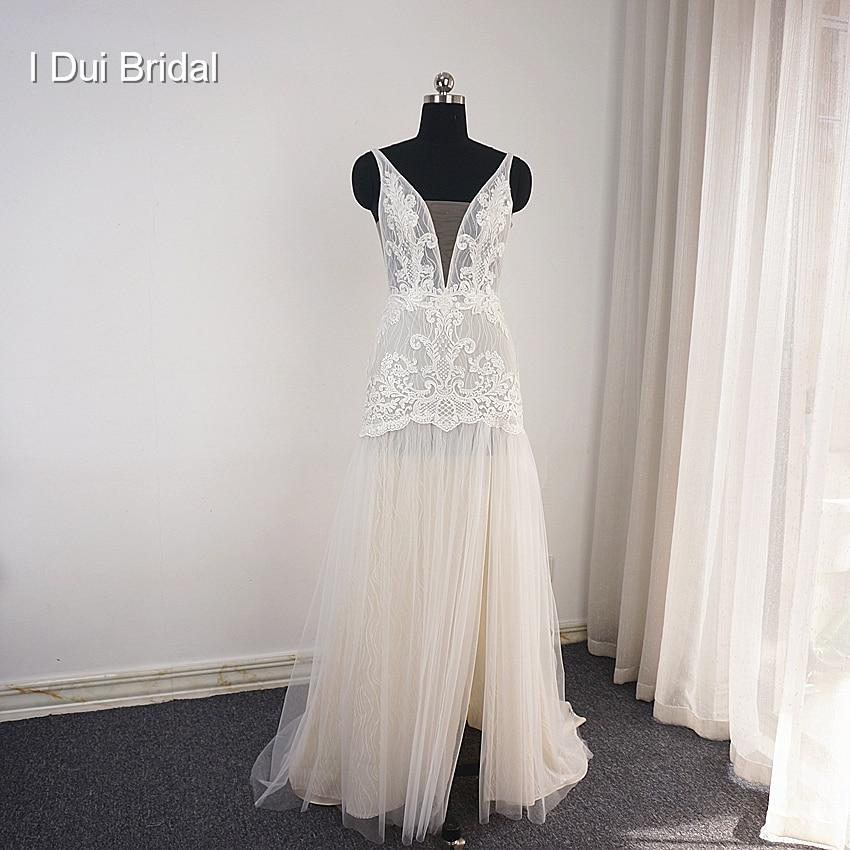 V Neck Boho Wedding Dresses A Line Lace Appliqued Unique Design New Style Split Leg