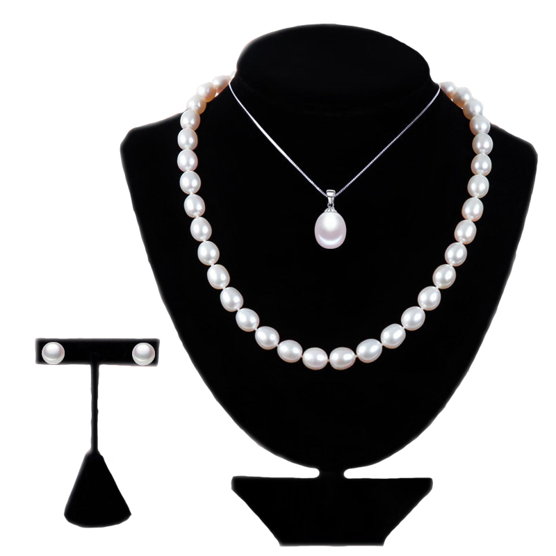 RUNZHUQIYUAN 2017 925 sterling silver jewelry Pearl Jewelry Sets Water Drop Natural Freshwater Pearls Send Chain pearl For Women free shipping imitation pearls chain flatback resin material half pearls chain many styles to choose one roll per lot