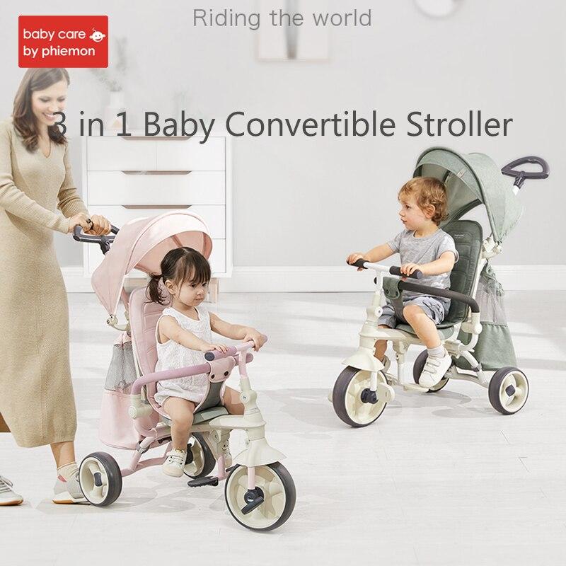 3-en-1 enfants Tricycle poussette pliant équitation vélo voiture chariot réglable infantile chariot trois roues poussette 1-3 ans
