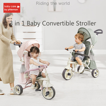 3-in-1 Childrens Tricycle Stroller Folding Riding Bicycle Car Cart Adjustable Infant Carriage Three Wheels Pushcart 1-3 years
