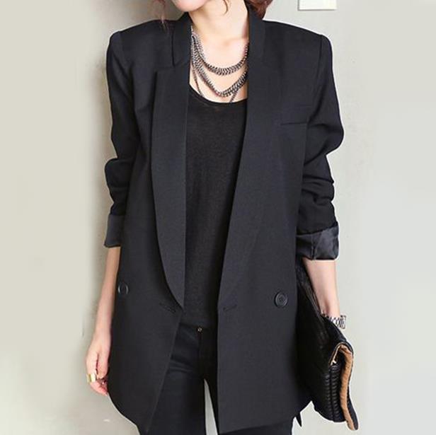 new v neck OL long suit blazer black Women coat jacket casual outwear