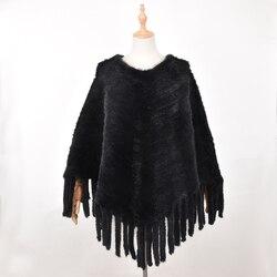 Beste Nieuwe Echte Echte Gebreide Mink Fur Cape Jas Bont Jas Vrouwen Winter Mantel Bovenkleding Grote Big Size Poncho