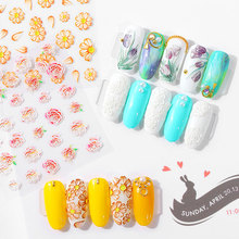 1 Sheet 5D Acrylic Engraved Flower Nail Sticker Embossed Water Decals Empaistic Slide Fashion