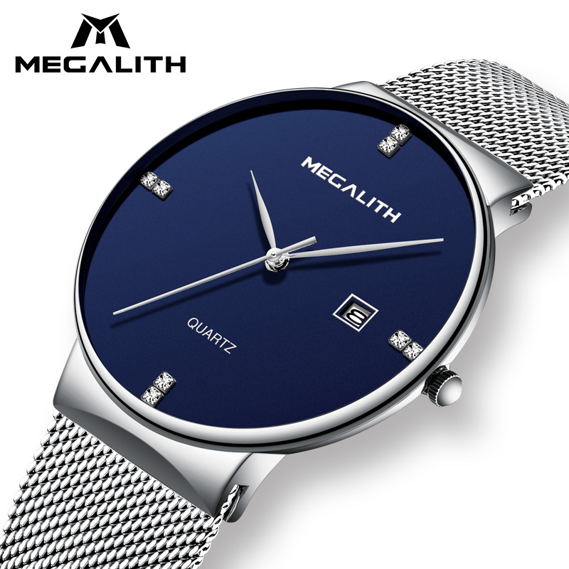 MEGALITH Mens Watches Business Waterproof Stainless Steel Mesh Wrist Watches Gents Sport Simple Design Analogue Watches for Men megalith quartz watches mens waterproof chronograph calendar silver stainless steel wrist watch gents sport business men s watch