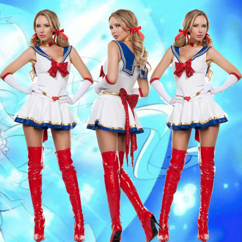 2017 New Arrival Ladies Sexy White Sailor Moon Costume -9098