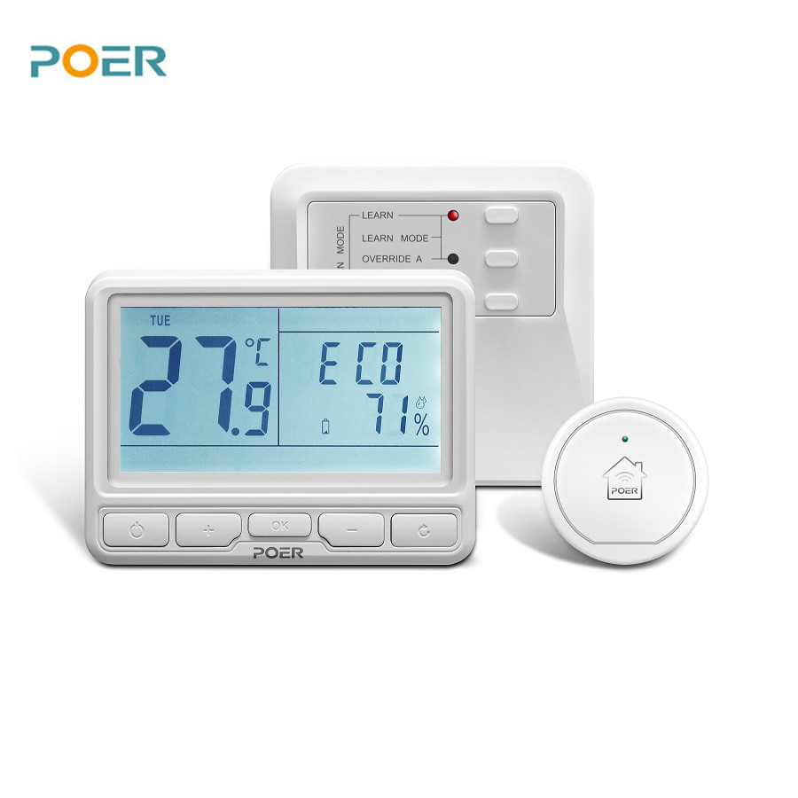 868MHz Wireless Boiler Room Controller Heating Thermostat Weekly Programmable With Backlight App Remotely Control With Gateway