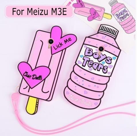 New 3D Cartoon Pink Ice cream love Water Bottles boy tears soft silicone case cover for Meizu M3E Meizu Meilan E 5.5 inch