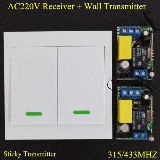 Lámpara de habitación de cama bombilla LED 220 V AC interruptor remoto de pared transmisor remoto interruptor de luz inalámbrico ASK 315433 hogar inteligente interruptor remoto