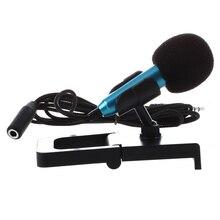 Mini microfone de mão para gravação de voz, bate papo internet no smartphone, notebook ou tablet, com cabo de microfone de 3.5mm e suporte de microfone