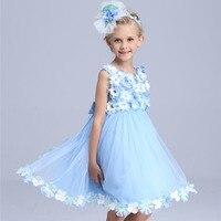 Flower Fairy princess costume girls summer dress 2016 party Cinderella dress Children short Wedding dresses Elf tutu dress