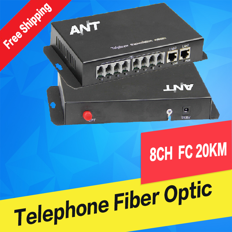 8Ch PCM Voice Telephone Fiber Optical Media Converter FC Single mode 20Km High Quality 4 channel pcm voice telephone fiber optical media converter with 1ch ethernet 1pair fc single mode 20km multi mode 300meters