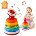 Baby Educational Toys Birthday Musical Rainbow Ring With Light Puzzles Stacking Cup Constructor For Children 0-24 Months
