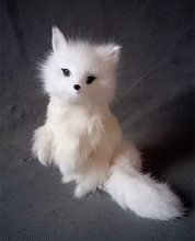 Simulation standing white fox polyethylene&furs fox model funny gift about 15*13*13CM