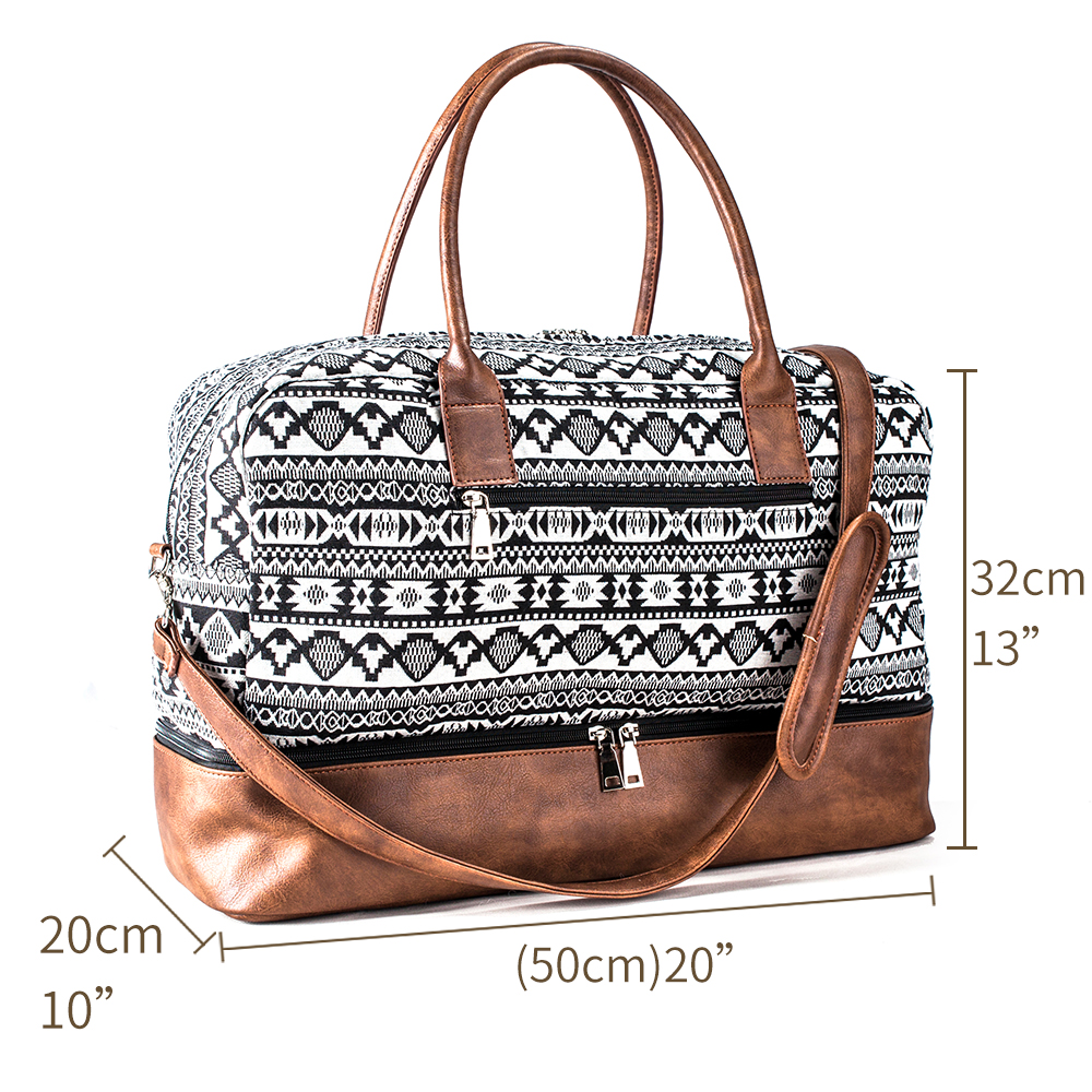 Mealivos 2018 Fashion Canvas Large Weekender Bag Overnight Travel bag Carry On Duffel with Shoe Pouch Duffel weekend Bags