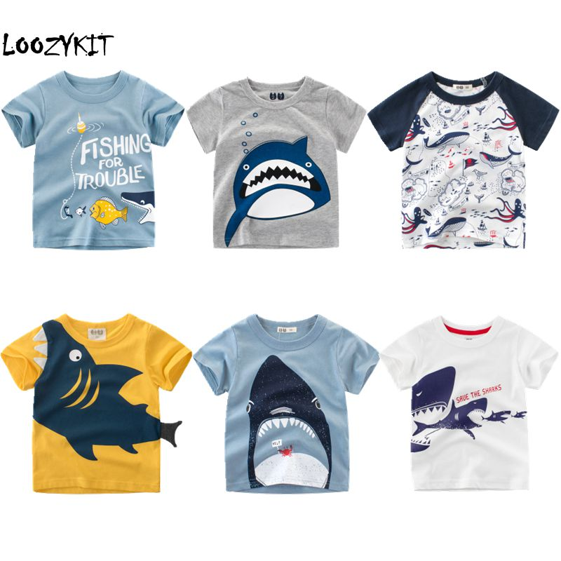 Loozykit Boys T-Shirt Shark-Printed Kids Cartoon Tops Short-Sleeve Cotton Summer Cute