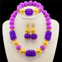2017 Arrival Nigerian Wedding African Beads Jewelry Set Indian Bridal Necklace Set Purple Crystal Beads Jewelry Set Free Shipp