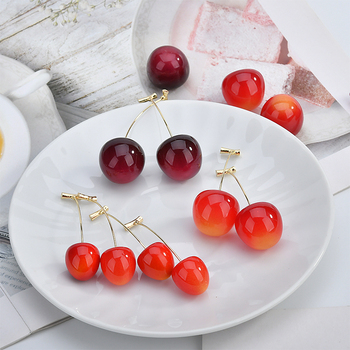 New Cute Red Resin Cherry Fruit Shaped Pendant Drop Earrings Bohemian Earrings For Women Girls Fashion.jpg 350x350 - New Cute Red Resin Cherry Fruit Shaped Pendant Drop Earrings Bohemian Earrings For Women Girls Fashion Jewelry Gift