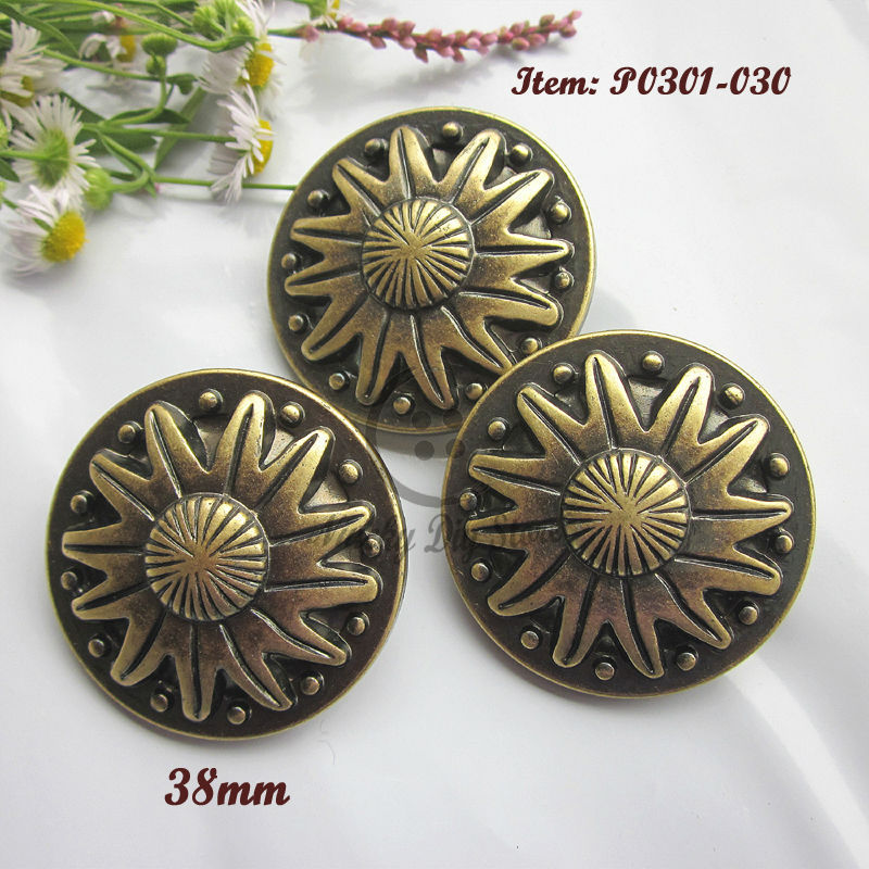 30pcs 60L Bronze sun pattern large coat buttons 38mm plastic decorative buttons craft diy sewing accessories wholesale