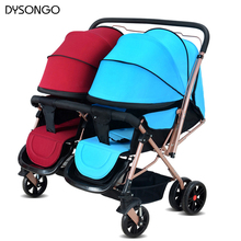 DYSONGO Infant Stroller Double Seats Twins Pushchair Shockproof Portable Twins Stroller Baby Carriage Travel Pram Free