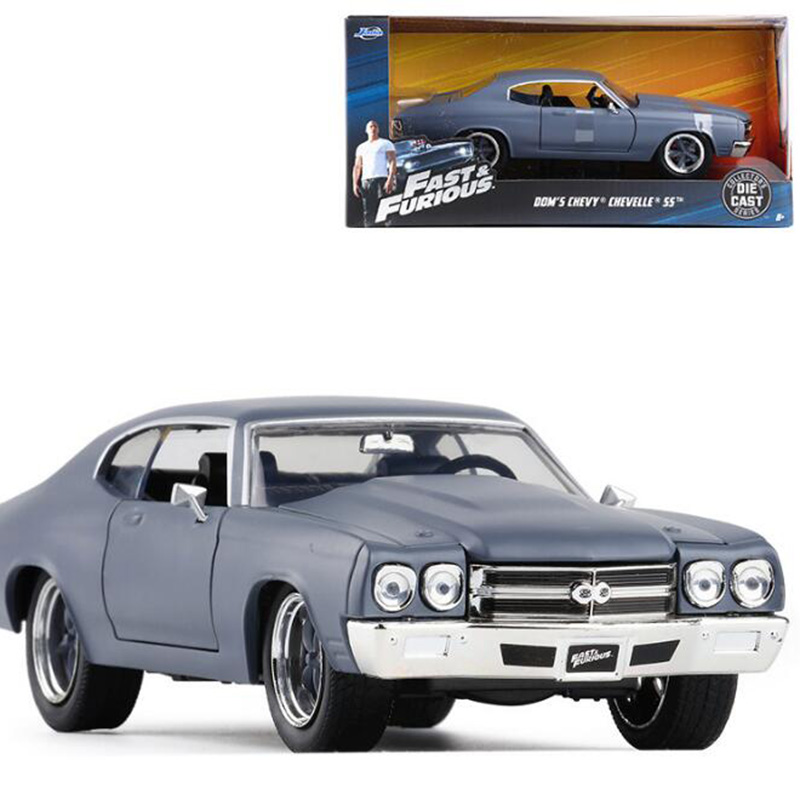 22CM 1:24 Scale Metal Alloy Chevrolet DOM'S SS Racing Car Pull Back Diecast Vehicles Model Toys F Children Collection