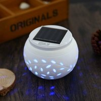 0 6W 40LM LED Solar Powered Color Changing Ceramics Ball Night Light Table Lamp