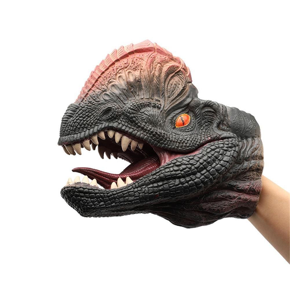 Dilophosaurus Dinosaur Hand Puppet Soft Rubber Dinosaur Toy animal toy dinosaur animal series many chew toy