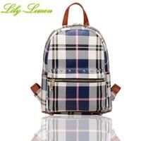 Plaid Backpack Purse Stylish Double Zipper Leather Mochila Schoolbag Rucksack Traveling Daypacks Gift For Teen Girls