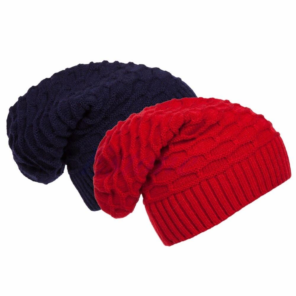 Unisex Women Men Knitted Knit Winter Warm Crochet Slouch Hat Cap Beanie hot winter beanie knit crochet ski hat plicate baggy oversized slouch unisex cap
