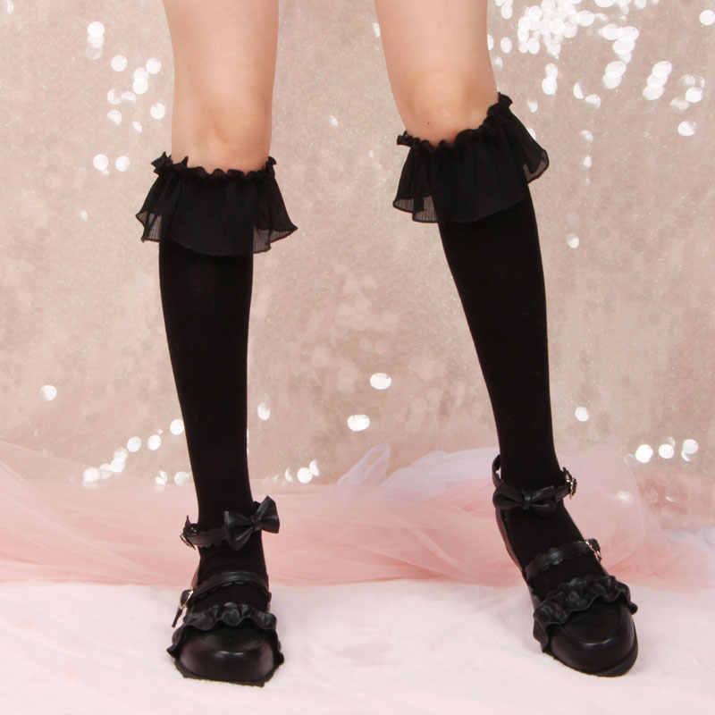 De Originele Lolita Grote Kant Katoen Sokken Alleen Mooi En Mooie Cartoon Benen Kousen Kousen Lolita Sokken