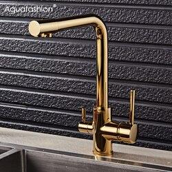 Gold Küche Wasserhahn Mit Gefiltertes Wasser Deck Montiert Trinken Wasser Mischbatterie Messing Gold Küche Wasserhahn Filter