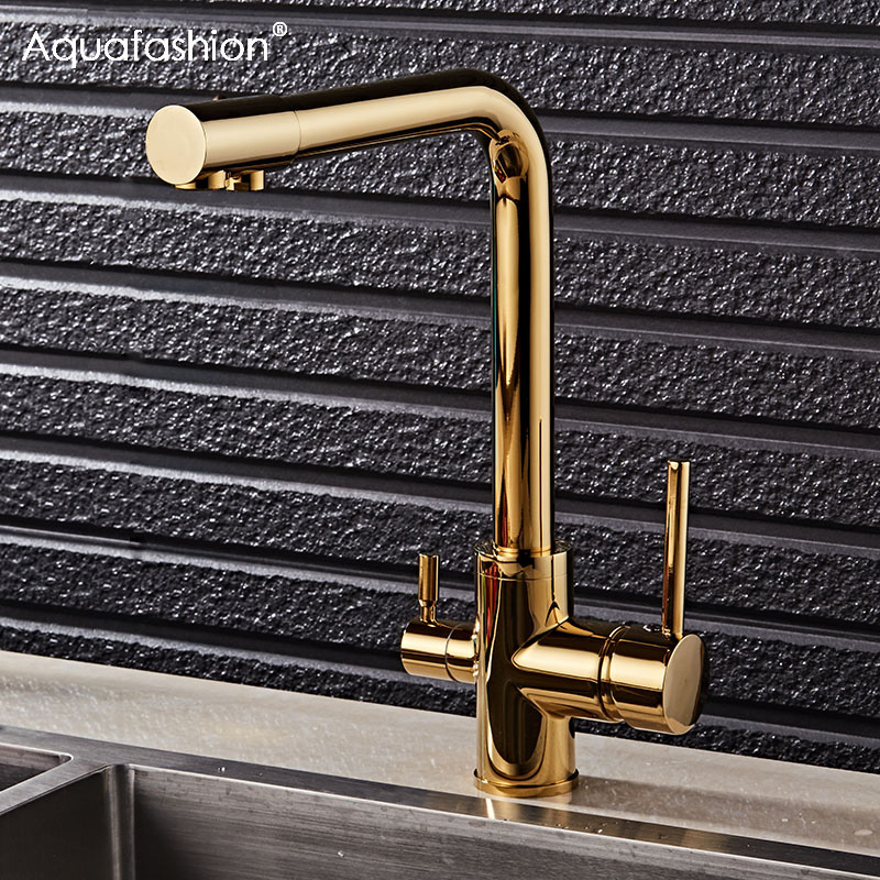 Gold Kitchen Faucet With Filtered Water Deck Mounted 360 Rotation Mixer Tap Brass Gold Kitchen Faucet Filter