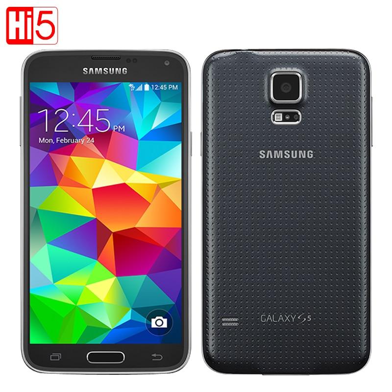 Débloqué Samsung Galaxy S5 G900F Android mobile Téléphone 16g ROM 16MP Caméra 5.1 écran Tactile Quad Core Wi-Fi GPS téléphone intelligent