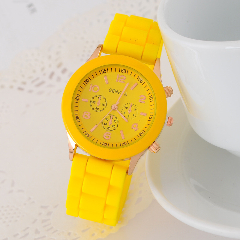 Hot Sales Geneva Brand Silicone Watches Womenanalog Sport Ladies Fashion Dress Quartz Wristwatch Relogio Feminino Erkek Saat