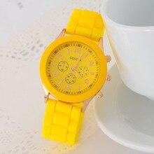 Hot Sales Geneva Brand Silicone Watches Womenanalog sport Ladies Fashion Dress