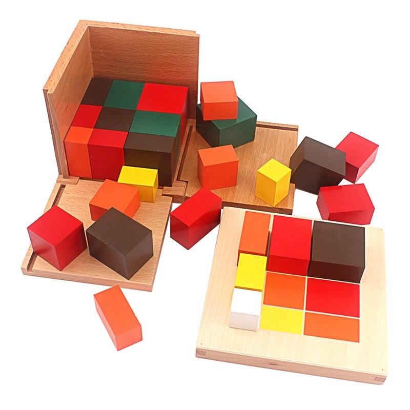 Montessori matériaux bois jouets colorés Cubes trinomiaux boîte trois Cubes en bois dix-huit prismes à base carrée aide à l'enseignement des étudiants - 2