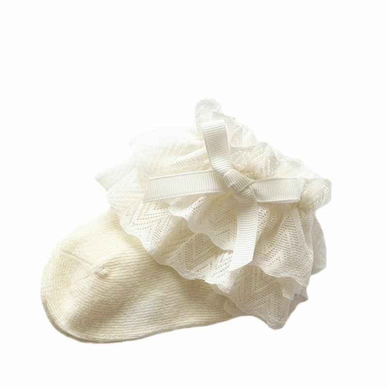 Носки для маленьких девочек хлопковые кружевные детские носки для новорожденных девочек, однотонные носки принцессы, одежда для маленьких девочек, аксессуары