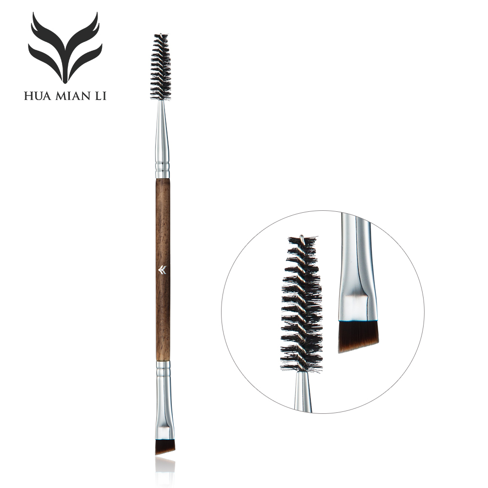 Huamianli Double Eyebrow Brush+Eyebrow Comb Beauty Cosmetic Brush Professional Makeup Brushes Tool Blending Eye portable abs foldable cosmetic eyebrow comb green